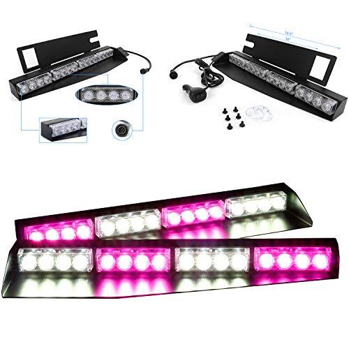 32W LED Lightbar Visor Light Windshield Emergency Strobe Split Mount Deck Dash Lamp (Purple&White)