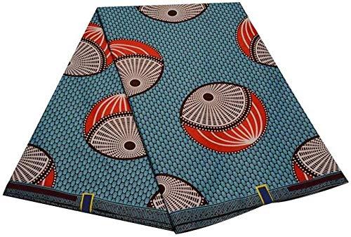 Afrikanischer Wachsstoff Ankara Veritable Wax Block Prints Stoff garantiert Echter holländischer Wachs Tissus Patchwork Wachsstoff (Farbe: Schwarz Größe: 6 Yards)-6 Meter_Hellblau und Rot Uptodat
