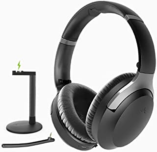 Avantree Aria Podio aptX-HD Bluetooth 5.0 auriculares con cancelación de ruido activa, auriculares inalámbricos con micrófono y soporte de carga para PC computadora, conferencia, baja latencia para TV