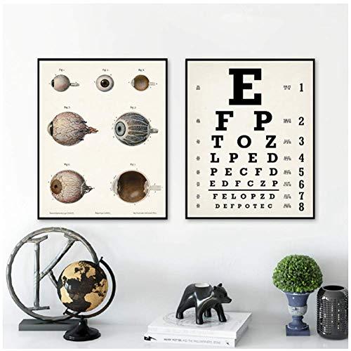 A&D Eyechart Kunstdruck Sehtafel Poster Optiker Geschenk Menschliches Auge Anatomie Poster Klinik Wandkunst Dekor Leinwand Gemälde-50x70cm Kein Rahmen