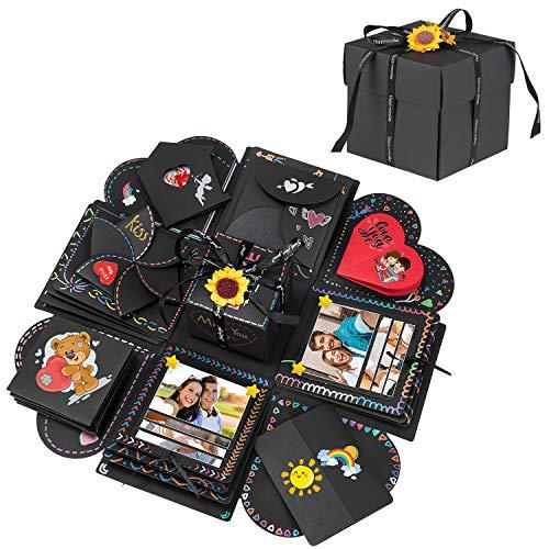 Explosion Box,DIY Creative Explosion Gift Box,Love Memory Surprise Gift Box, Handmade Scrapbook Photo Album Suitable for Birthday Party, Valentine's Day,Graduation,Anniversary Gifts & Wedding(Black)