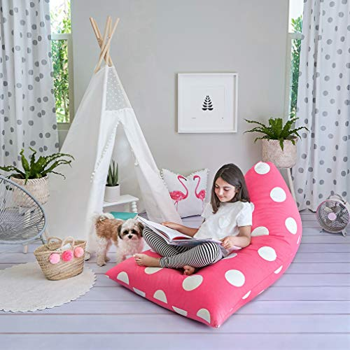 Butterfly Craze Stuffed Animal Storage Bag & Bean Bag Chair Cover - Toy Organizer & Floor Lounger in One with Extra Large Capacity & Premium Cotton Canvas (Pink Polka Dots)