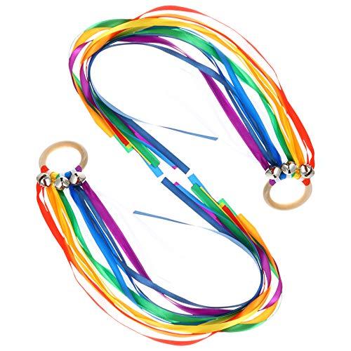 Kisangel 2Pcs Waldorf Hand Kite Set Rainbow Ribbon Juguetes Sensoriales Rainbow Hand Kite Montessori Waldorf Juguetes para Niños Pequeños Que Aprenden Juguete Montessori ( Arco Iris 1 )