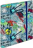OFITURIA Carpeblock 4 Anillas Smiley Rebel, Carpeta Archivador 4 Anillas A4 Escolar con Goma, Carpeta Clasificadora Anillas Juvenil con Tapa Dura de Cartón de Gran Calidad - Medidas 27,5 x 32 x 5 cm