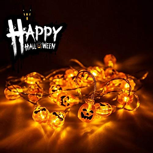 Halloween Pumpkin String Lights 20 LEDs 9.8ft, Fulighutre LED Fairy String Lights Battery Operated, for Halloween Christmas Festival Party Home Bedroom Decoration DIY