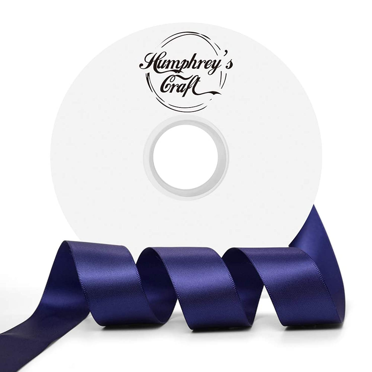 Humphrey's Craft 1-inch Double Face Solid Satin Ribbon 100% Polyester Ribbon Roll-50 Yard (Ink Blue)