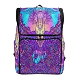 Color Cool Elephant Head Totem Large Casual Daypack for Boys Girls in School College Backpack Laptop Fits 15.6Inches Computer for Students,Hiking Outdoor Travel Bags for Women Man