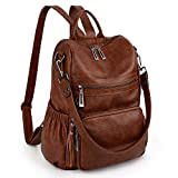 UTO Women Backpack Purse Leather Vegan Ladies Fashion Designer Rucksack Convertible Travel Shoulder Bag with Tassel New Brown