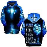 Blue Lion Jesus is a God My King My Lord My Savior My Healer My Everything All Over Printed 3D Hoodie, Zip Hoodie, Sweatshirt