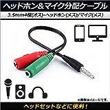 AP ヘッドホン&マイク分配ケーブル 3.5mm4極(オス)-ヘッドホン(メス)/マイク(メス) Y字ケーブル ヘッドセットなどに便利! AP-MM0045