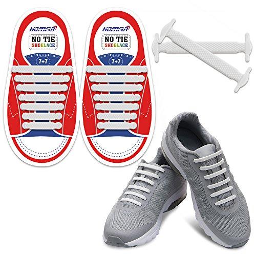 HOMAR Durable Kinder-Sport-Fan Shoelaces Gummi Kinder Elastische Sportlauf Schnürsenkel Flache Schnürsenkel für Sneakers Boots Oxford - White