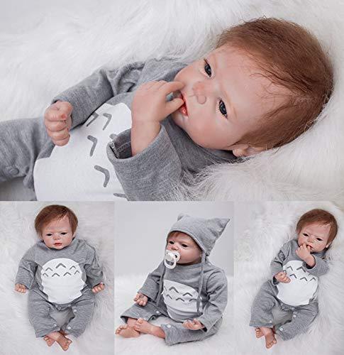 ZIYIUI 22 Zoll Reborn Babypuppe Realistisch 55 cm Neugeborene Reborn Silikon Weichkörper Lebensechtes Reborn Babys Junge öffnen Augen Reborn Puppen Geschenke Geburtstag