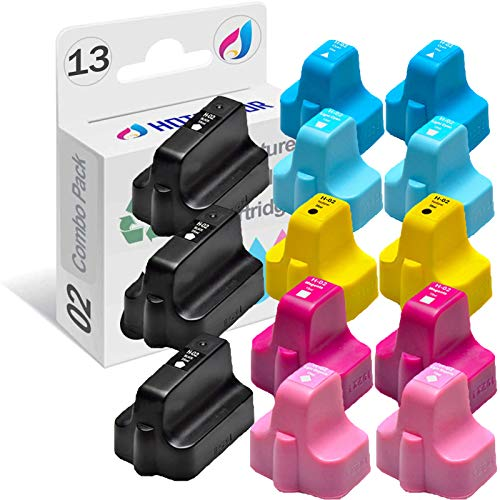 HOTCOLOR Remanufactured Ink Cartridge Replacement for HP 02 Work for HP Photosmart 3110 3210 3310 8250 C5100 Printer (Black, Cyan, Magenta, Yellow, Light Cyan, Light Magenta, 13-Pack)