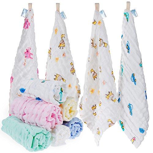 Lictin 10 Pezzi Asciugamani Bambini Mussola - Asciugamano Viso Infantile 100% Cotone Chiffon Fumetto 25 * 25 cm Baby Accessorio Fazzoletto per neonati