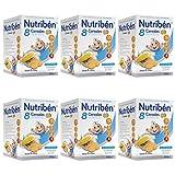 Nutribén Papillas, Desde Los 6 Meses, Papillas 8 Cereales Con Galletas Maria, Pack De 6 unidades x 600 g