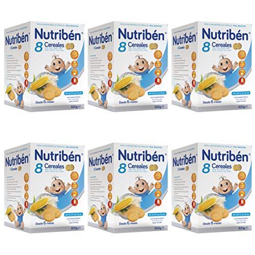 Nutribén Papilla 8 cereales con Galletas María, Sin aceite de Palma ni azucares añadidos - Alimento Para bebés- Desde Los 6 Meses- Pack De 6 unidades x 600 g