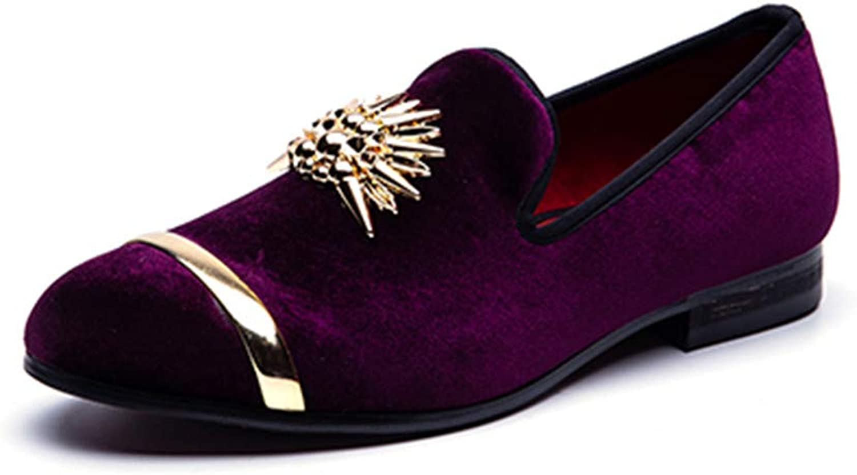 Julitia guld Top och Metal Toe män sammet Dress Dress Dress skor Italian herr Dress skor Handgjorda Loafers  bästa mode