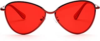 Sunglasses Fashion Accessories Metal UV Transparent Color Lenses for Sunglasses Outdoors Climbing Driving Beach (Color : Red)