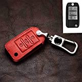 YS~Car Key case, Styling Key Chain, for MG ZS 3button for Roewe RX5 2016, 2017, 2018, 2019 Key case,2022 (Color : Red)