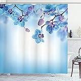 ABAKUHAUS Blume Duschvorhang, Orchideen asiatische Natur, mit 12 Ringe Set Wasserdicht Stielvoll Modern Farbfest & Schimmel Resistent, 175x180 cm, Lila & Blau