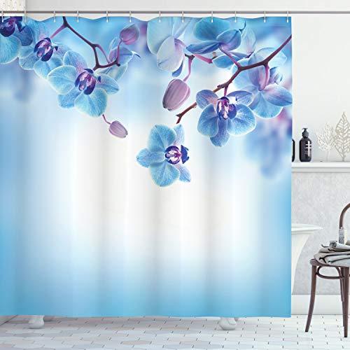 ABAKUHAUS Blume Duschvorhang, Orchideen asiatische Natur, mit 12 Ringe Set Wasserdicht Stielvoll Modern Farbfest und Schimmel Resistent, 175x180 cm, Lila und Blau