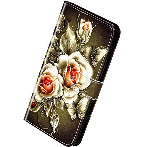 Herbests Kompatibel mit iPhone 12 Mini Handyhülle Hülle Flip Case Bunt Muster Leder Tasche Schutzhülle Klappbar Bookstyle Lederhülle Ledertasche mit Magnet Kartenfach,Rose Blumen