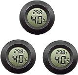 Termómetro de higrómetro digital LCD de 3 paquetes, medidor de humedad interior y exterior Medidor de temperatura para humidificadores Deshumidificadores Invernadero sótano Cuarto de bebé, negro