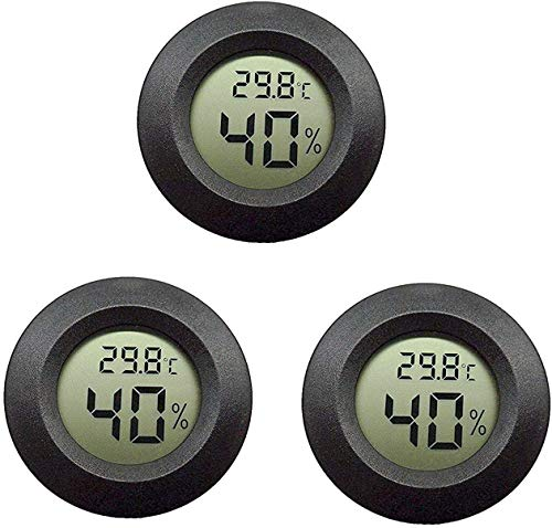 Topcloud LCD Digital Hygrometer Thermometer, Indoor Outdoor Humidity Meter Temperature Gauge for Humidifiers Dehumidifiers Greenhouse Basement Babyroom, Black (3pack)