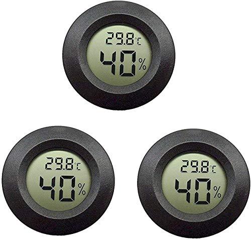 Topcloud LCD Digital Hygrometer Thermometer, Innen-Außenfeuchtemessgerät Temperaturanzeige für Luftbefeuchter Luftentfeuchter Gewächshaus Keller Babyzimmer, Schwarz (3pack)