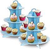 wxqym 3- Nivel de cartón Cupcake Stand Soporte Azul del Lunar Postre for el bebé duchas, cumpleaños, la Fiesta de -Pack 2 (Color : Blue)