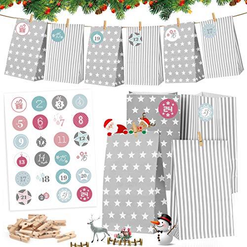 Calendario de Adviento, 24 DIY Calendario de Adviento Navidad, Bolsas de Regalo Navidad, 24 Adhesivos Digitales de Adviento, Bolsas de Papel navideñoo, Adviento Bolsa de Regalo Navidad Decoración