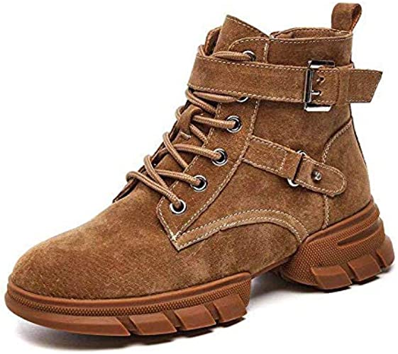 HOESCZS Bottes Martin bottes New Leather Matte Martin bottes Wohommes Fashion Retro Style High to Help Fall and Winter Models Flat Short Tube Rhubarb bottes