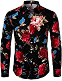 ZEROYAA Men's Hipster Retro Rose Floral Printed Casual Slim Fit Long Sleeve Streth Shirt ZLCL04-101-Black Large