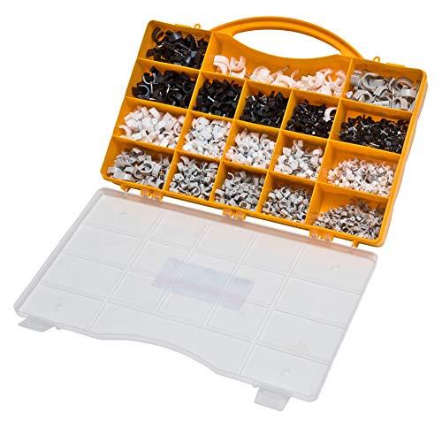 Kabelschellen Set für Rundkabel 1020tlg weiß schwarz grau Nagelschellen Kabelhalter Kabelbefestigung Haftclip mit Nagel diverse Größen im Sortimentskoffer nicht...