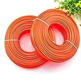 Potente Tools - Filo di nylon resistente per decespugliatore decespugliatore linea filo filo 2,4 mm/2,7 mm x 15 m, colore: Arancione