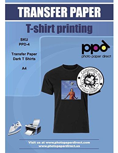 PPD Papier Transfert Jet D'Encre (Inkjet) à repasser sur T-shirts/Textiles Noirs ou Foncés - A4 x 20 Feuilles PPD-4-20