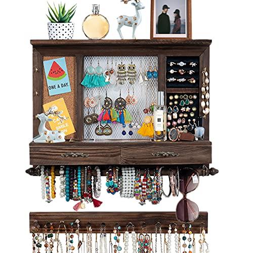 Wand Schmuckhalter Holz, Schmuckständer mit Schmuckleiste Set, Schmuckkasten Schmuck-Organizer Jewelry Display Aufbewahrung von Halsketten Ohrringe Armbänder Ringe