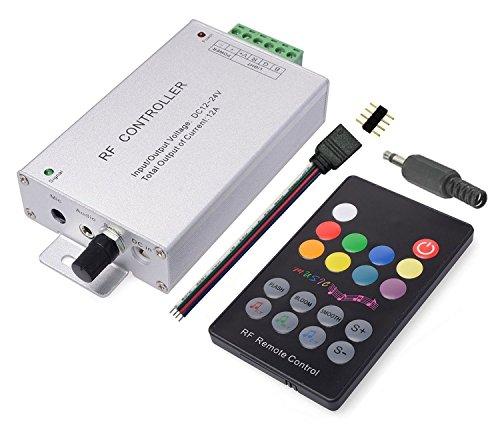 LitaElek 18 boutons capteur de musique Contrôleur LED RGB Avec télécommande RF Boîtier en aluminium DC 12V-24V 12A Pour SMD 5050 3528 2835 RGB feux à LED Strip Ruban Bande LED