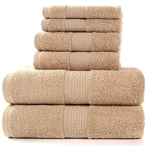 Juego de toallas de baño de lujo, 2 toallas de baño grandes, 2 toallas de mano, 2 toallas de mano y 2 manoplas. Algodón suave de calidad de hotel, muy absorbente.