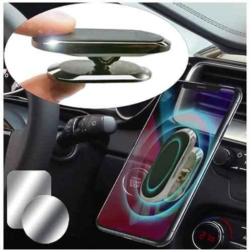 Moogambi Imán Coche Móvil Adhesivo con rotación 360 y 180 Grados Soporte magnético Alargado para Sujetar teléfono móvil para el Coche o la Pared + 2 Placas metálicas (Negro)
