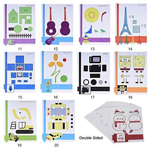 Starworld 3d-Schablonen, 3d, Bücher für Doodle-Muster, mit transparenten, Geschenk für Kinder (20VERSCHIEDENEN 40Blatt Muster, verschiedene Designs) - 6