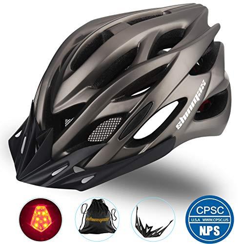 Shinmax Casco Bici con Luce a LED,Casco da Montagna da Strada Specializzato Regolabile Certificato CE per Uomo Donna Casco da Bici Super Leggero Zaino per Casco Bici per Adulto con Visiera Staccabile