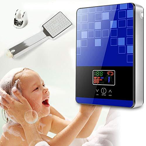 Berkalash Durchlauferhitzer, 220V 6500W Mini Elektrische Warmwasserbereiter Dusche Bad Set, für Küche und Bad, Maximale Temperatur 55 °C (Blau)