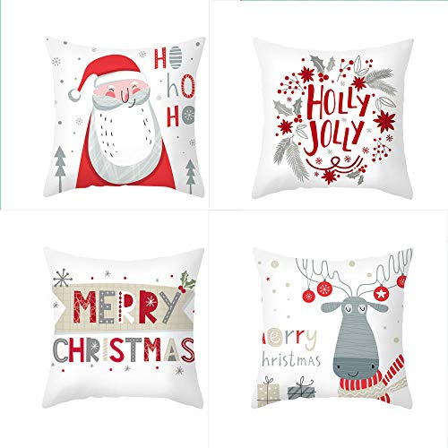 NLNL 4-piece Set Of Christmas Linen Pillowcase Cartoon Elk Golden Cartoon Santa Claus Series Cushion Cover Office Sofa Pillowcase-Style:3