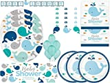 Lil' Spout Blue Whale Baby Shower Ultimate Tableware and Decoration Party Kit for 24 Guests