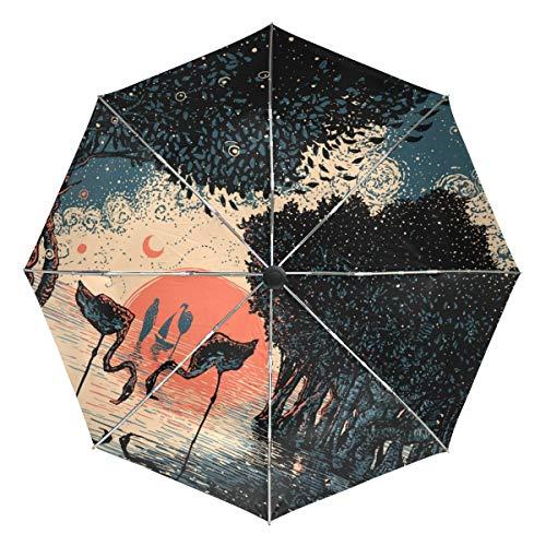 MONTOJ Mangrove Wald Flamigo Sonnenuntergang Gemälde Sonne und Regen Reise Regenschirm UV-Schutz mit automatischem Öffnungsknopf