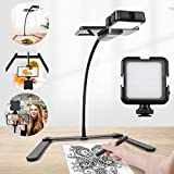 Overhead Phone Mount, Ajustable Tripod with Cellphone Holder, Tripod with Led Light /Table Top Teaching Online Stand for Live Streaming and Online Video and Cook Recording