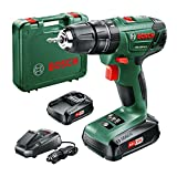 Bosch 06039A3371 PSB 1800 LI-2 Cordless Combi Drill with Two 18 V Lithium-Ion Batteries, Green