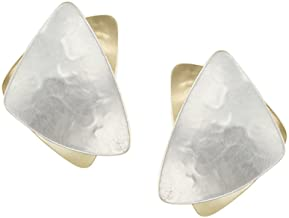 product image for Marjorie Baer Stacked Triangle Clip Earring in Brass and Silver
