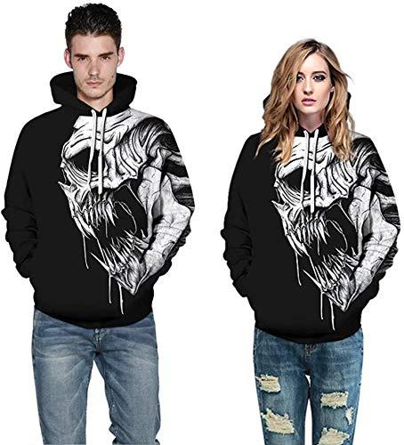 Sudadera con capucha para hombre y mujer con estampado de animales en 3D, unisex, estilo informal, holgada, color blanco, talla XL
